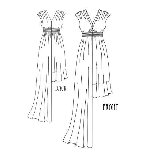 gráfico patrón vestido griego