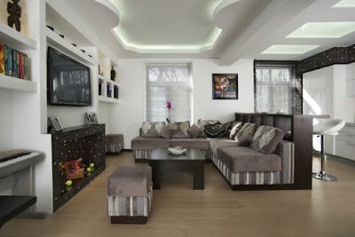 separating living dining combo ideas with false ceiling and lighting