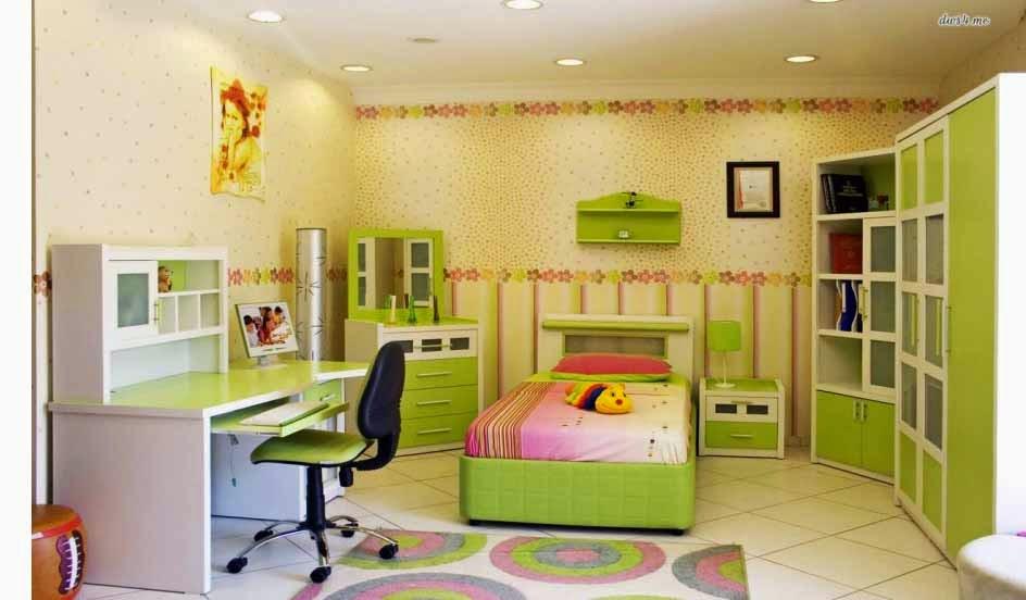 Desain kamar anak paling unik dengan walpaper dinding warna hijau