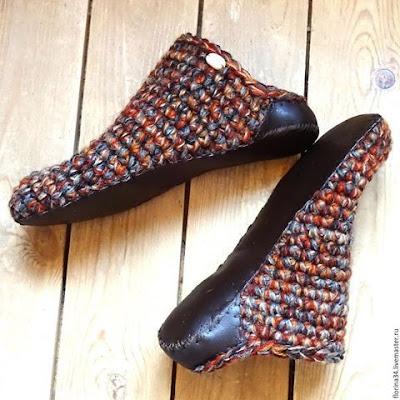 wzory kapci na drutach i szydełkiem