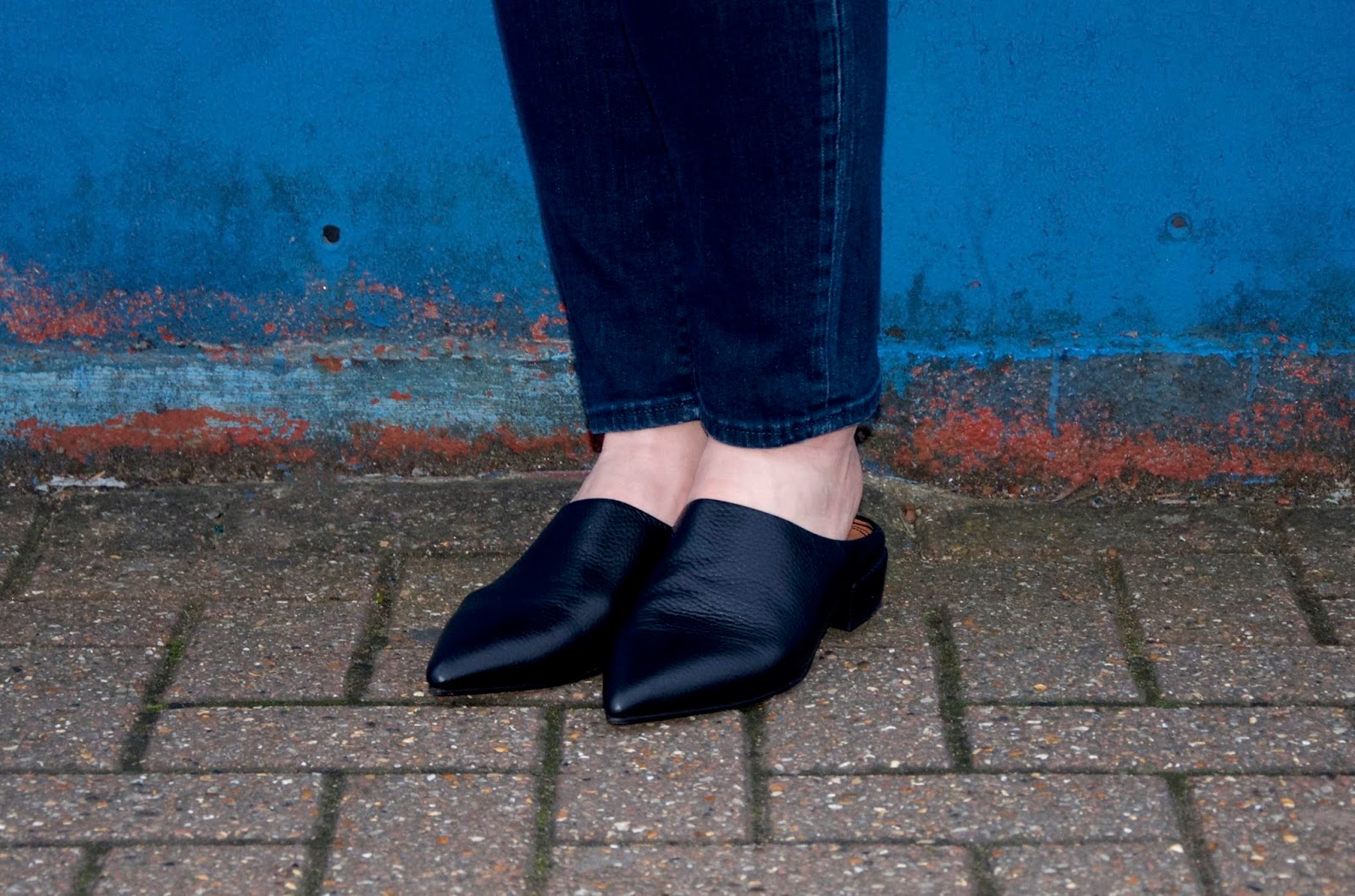 ASOS Black Leather Pointed Toe Slide Shoes