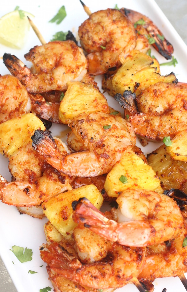 Sriracha-Lime Shrimp & Pineapple Skewers recipe by SeasonWithSpice.com