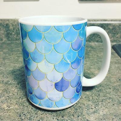 Society6 Aqua Mermaid Scales Pattern 15 oz mug