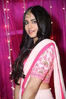 Adaa Sharma in White Pink Saree at Zee Telugu Apsara Awards 2017 16.JPG