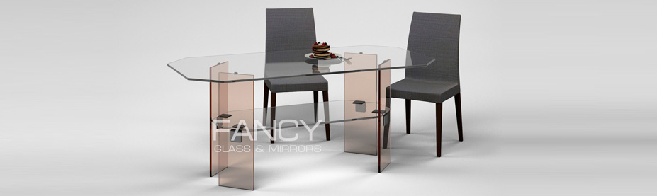 Rectangular dining glass table octagon