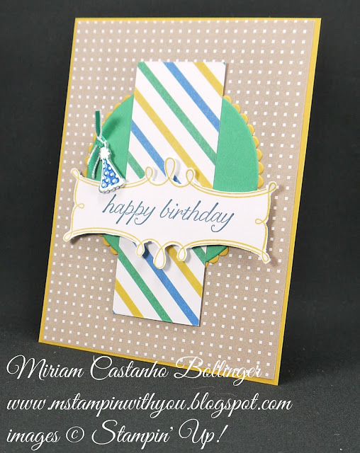 Miriam Castanho-Bollinger, #mstampinwithyou, stampin up, demonstrator, birthday card, pp, party animal dsp, christmas pines stamp set, birthday blossoms stamp set, big shot, layering circles, party animal embellishment, su