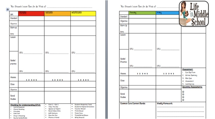 Life in Middle School Teacher Planner Notebook - teachers planning calendar