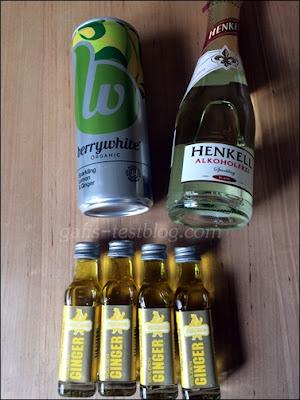 Berrywhite Organic Erfrischungsgetränk.  Henkell  Alkoholfrei und Berentzen Puschkin Golden Ginger
