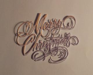 Purple and orange die cut Merry Christmas sentiment