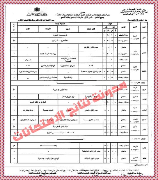 جدول امتحانات شهادة الدبلوم الفنى التجارى 2018 جداول الدبلومات الفنية أخر العام