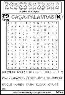 Caça-palavras com letra K