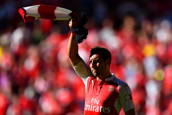 Santi Cazorla of Arsenal celebrates his team's 1-0 win in the FA Community Shield match between Chelsea and Arsenal at Wembley Stadium on August 2, 2015 in London, England