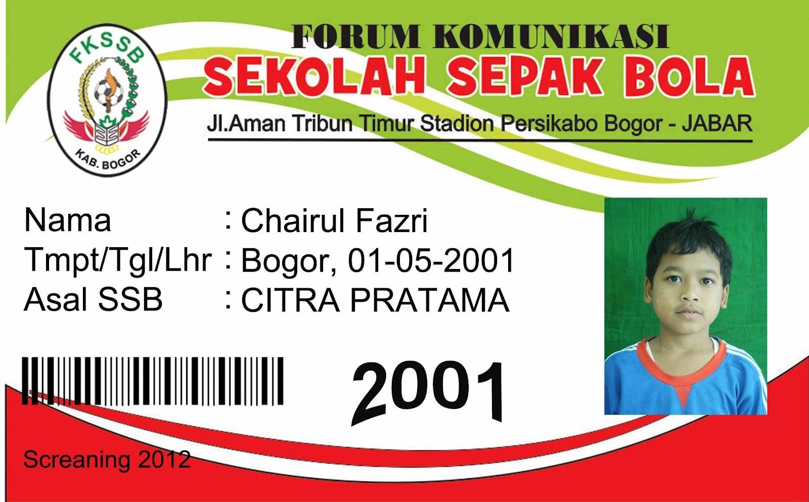 Contoh Id Card Pemain Fkssb Fkssb Kab Bogor