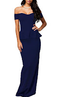 NuoReel Women's Drop shoulder Peplum Maxi Evening Dress