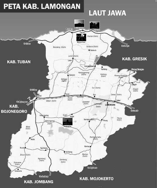 Gambar Peta Lamongan Hitam Putih