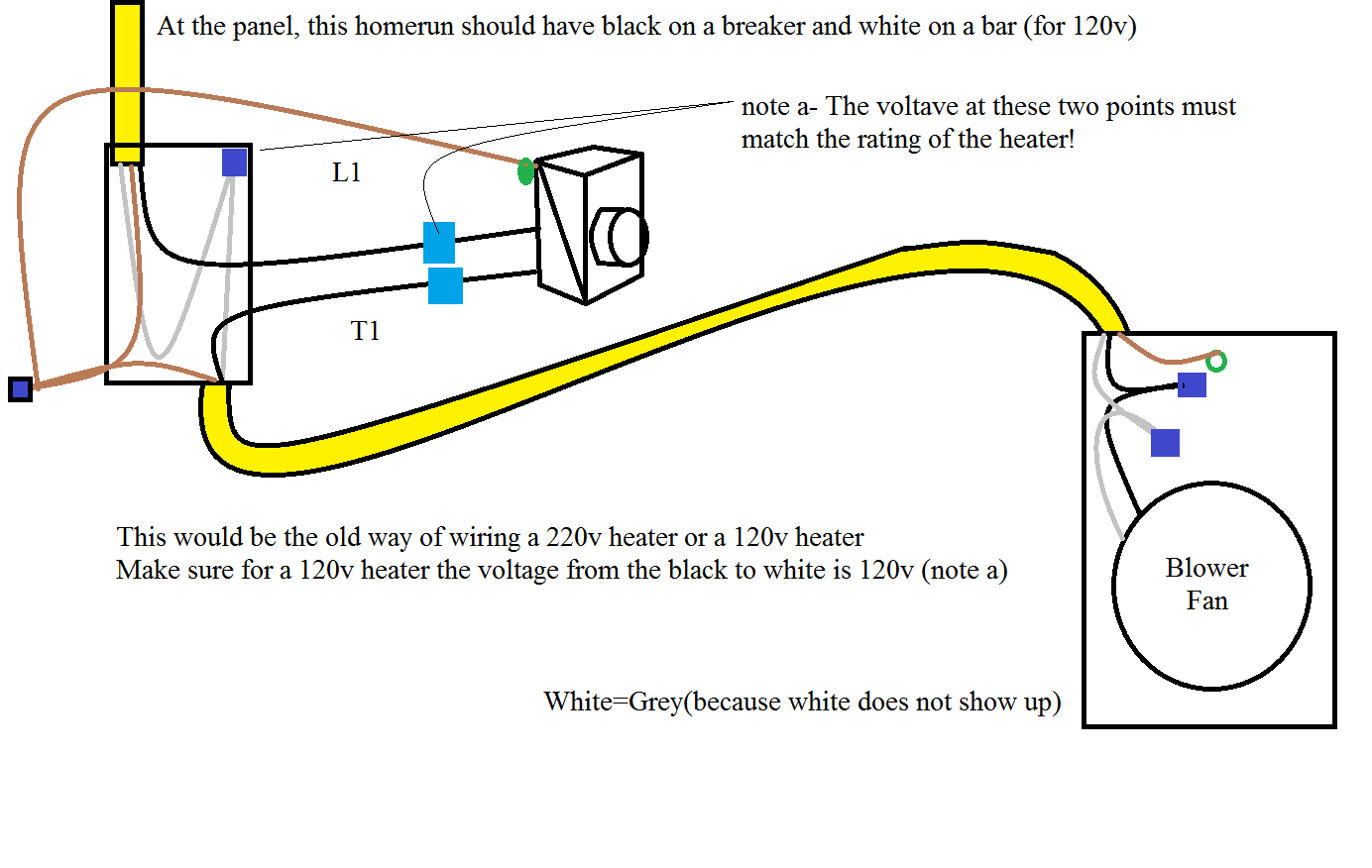 a house wired prior to 2008 would have the white wire wire nutted through even if it was 220v heater system where a house wired after 2008 the white wire  [ 1384 x 876 Pixel ]