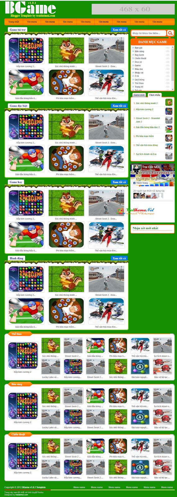 BGame v1.0.1 - Giao diện về game chuyên nghiệp cho blogspot