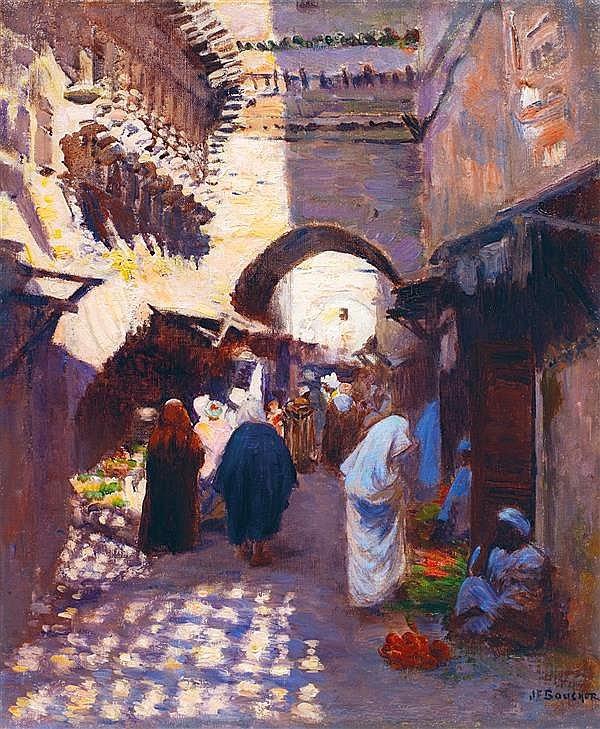 Lot 17 Joseph-Félix Bouchor (1853-1937) Fès, Le souk et les horloges de Bou  Anania (Inamiya) Fez db45cf62452