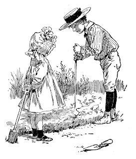 gardening children image illustration vintage artwork drawing