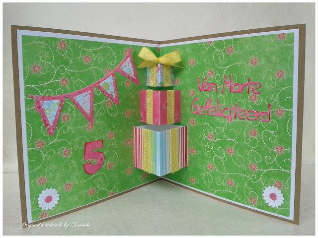 Super Original handmade by Janneke: Happy Birthday Pop-up kaart &YR11