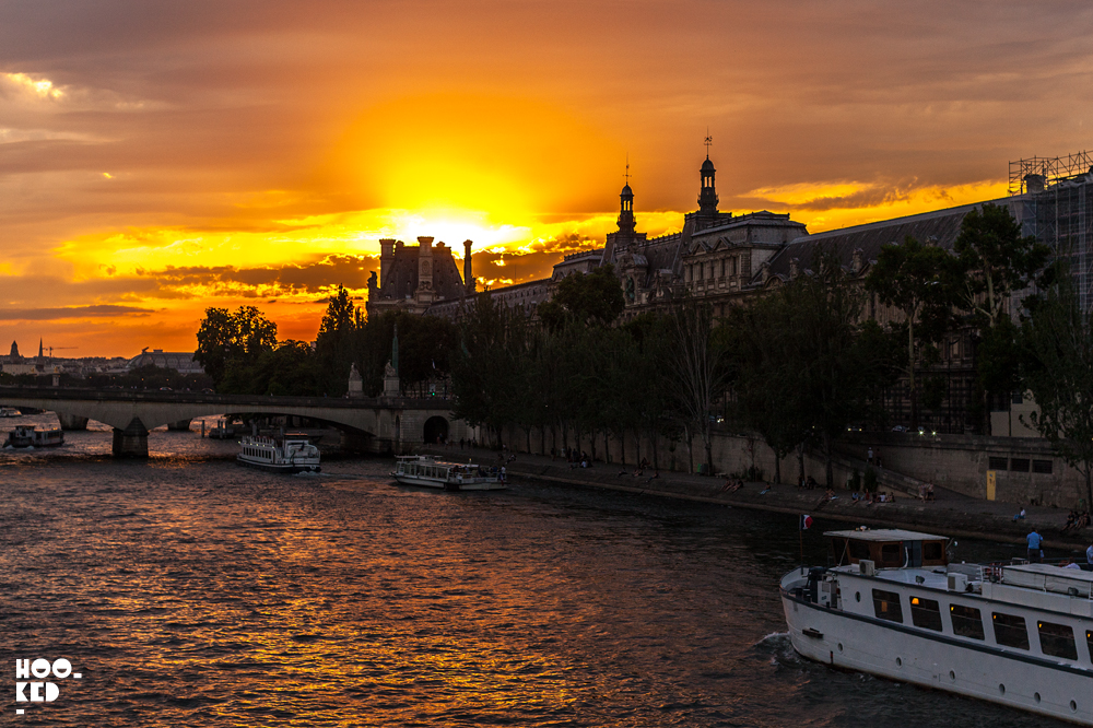 Sunset over the Seine river in Paris, France. Photo ©Hookedblog / Mark Rigney