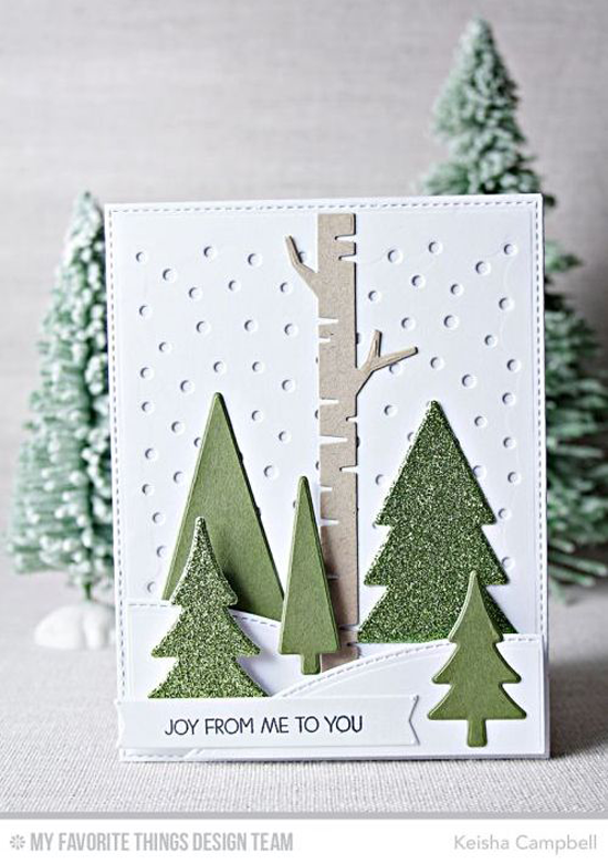 Handmade card from Keisha Campbell featuring Merry Everything stamp set, Oh Christmas Trees, Snowfall - Vertical, Stitched Valley, and Birch Tree Die-namics mftstamps