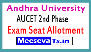 Andhra University AUCET 2nd Phase Seat Allotment