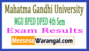 MGU BPED DPED 4th Sem Exam Results 2017