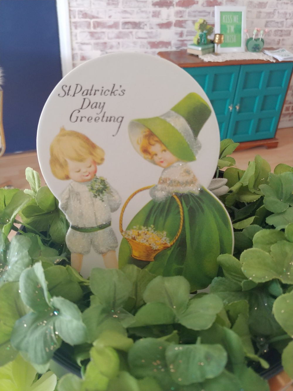 tiered tray decorated for St. Patrick's Day