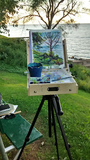The outdoor painting setup that I use to paint watercolors