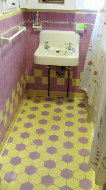 Vintage 1920's Art Deco bathroom tile in yellow and lavender from Studio, Garden and Bungalow