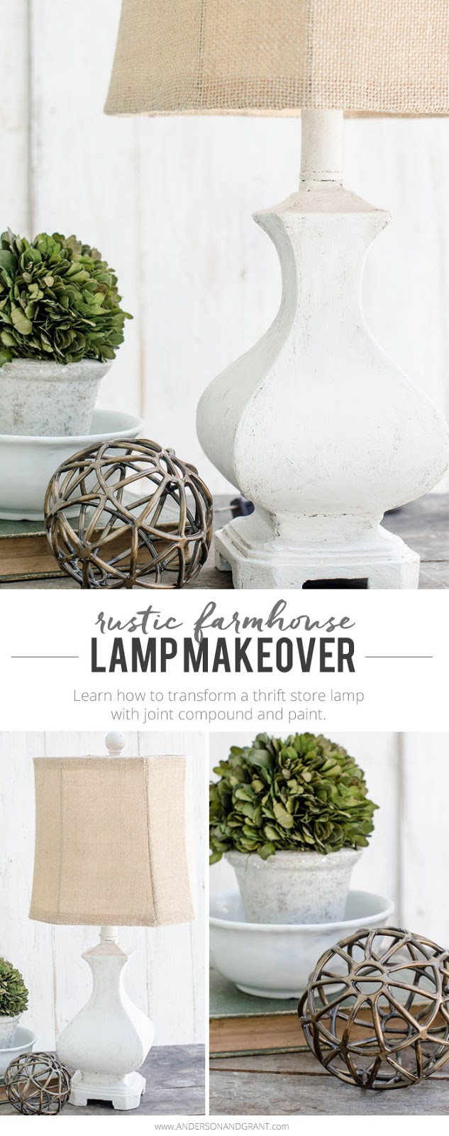Do you have an unstylish lamp that you haven't been able to get rid of?  Learn how to use joint compound from the hardware store to give it texture and a rustic farmhouse look.  |  www.andersonandgrant.com