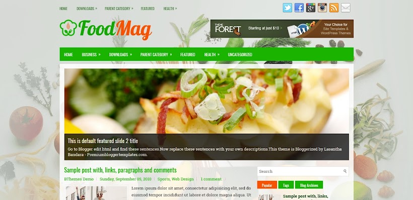 FoodMag Free Blogger Template