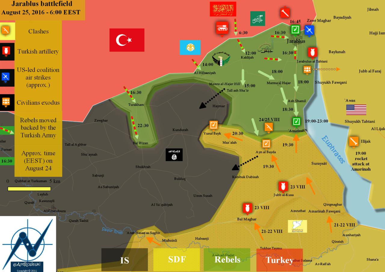 Battlefield Map of Jarabulus area in Syria