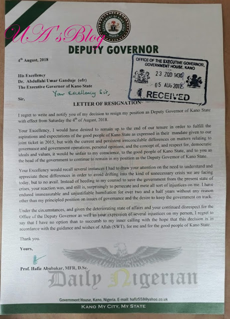 Kano Deputy Governor Resigns (See Resignation Letter)