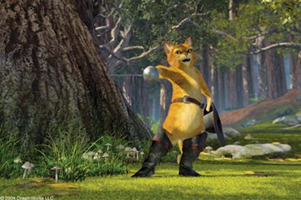 Puss in Boots waving sword 2004 animatedfilmreviews.filminspector.com Shrek 2