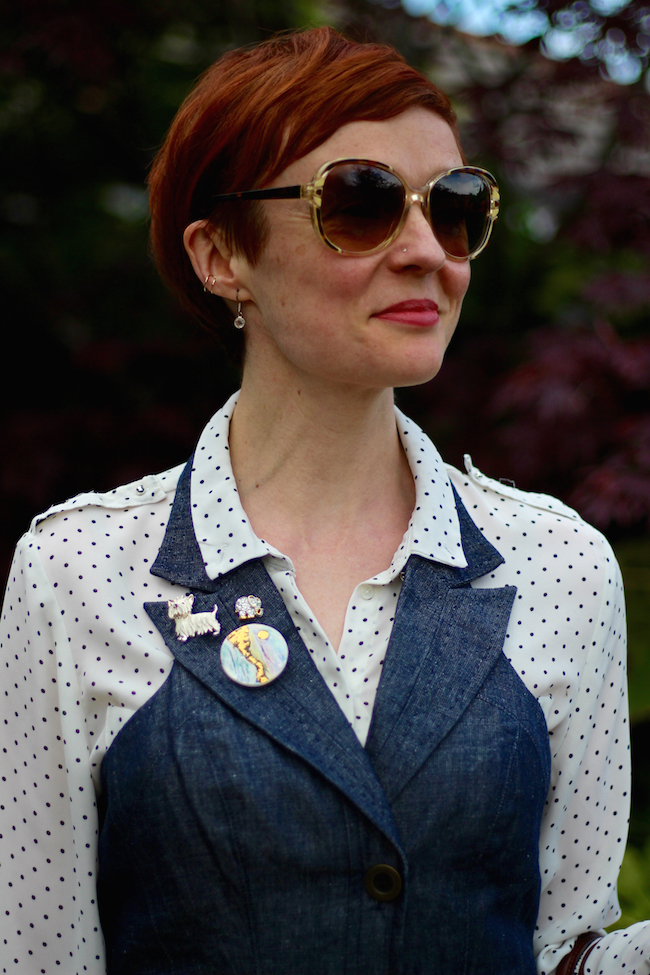Fake Fabulous |Can you wear denim for work? Denim dress, leopard belt, white spotty shirt, mixed brooches.