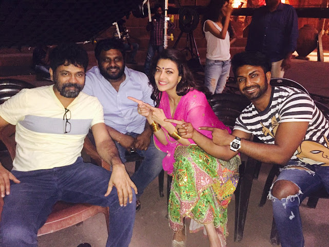 kajal agarwal on the sets of Pakka local