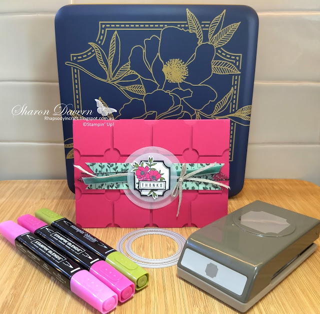 Darling Label Punch Box, Lovely Lipstick, Thank You Card, Rhapsody in Craft, DIY cards, AWH Colour Creations Blog Hop