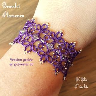 bracelet en frivolité, modèle facile et gratuit réalisé avec du fil polyester et des perles