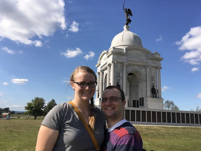 Ben and Meagan at the Pennsylvania monument at Gettysburg.