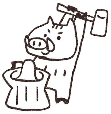 餅つきをする猪のイラスト(亥年)モノクロ線画
