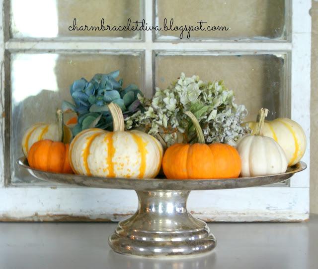 vintage silver cake stand pumpkins hydrangeas