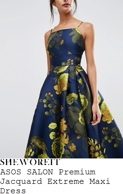 laura-tobin-asos-salon-navy-blue-yellow-green-and-gold-oversized-floral-print-jacquard-sleeveless-cami-strap-square-neckline-high-waisted-full-skirt-maxi-dress
