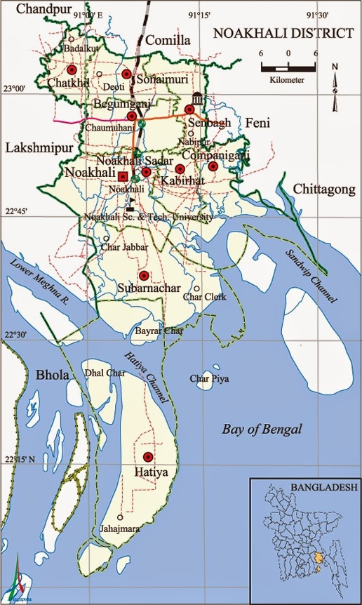 Noakhali district digital map