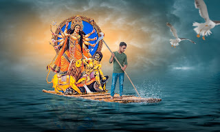 Happy durga pooja by photoshop ideas
