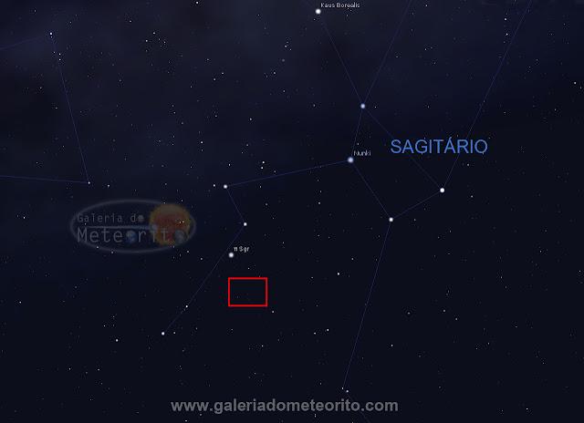 Plutão - posição no céu em julho de 2017
