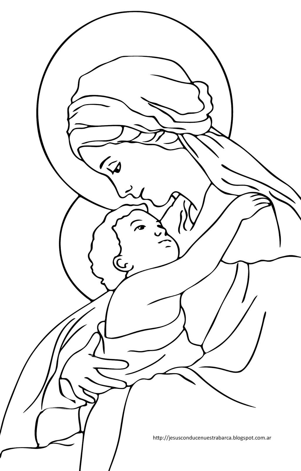 Jesús conduce nuestra barca: Dibujos Virgen María