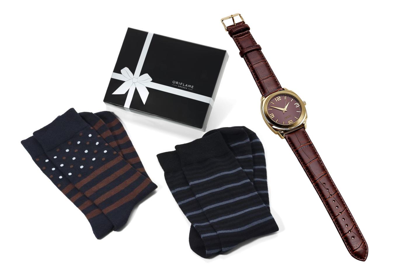 Relógio Classic Luxe e Conjunto de Meias Dan para Ele