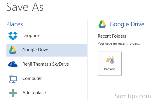 Google Drive in Office 2013